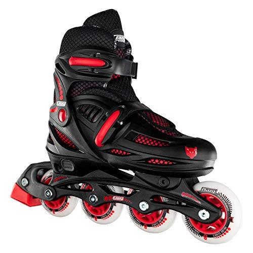 - Crazy Skates Adjustable Inline Skates for Boys - Beginner Kids Roller Blades - Black with Red (Small - Sizes Jr11-1)
