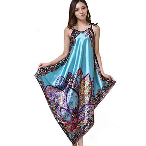 MUST ROSE SPORTS AND HOMEWEAR Women Sexy Boho Satin Strap Pajamas Long Nightgown Sleepwear (One Size, Turquoise)