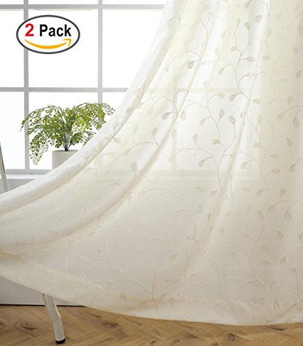 Miuco Floral Embroidered Semi Sheer Curtains Faux Linen Grommet Curtains for Girls Room 52 x 84 Inch Set of 2, Off White