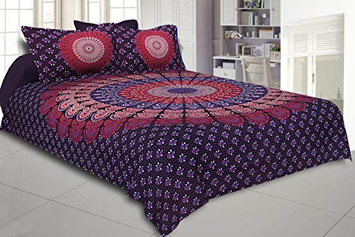 THE ART BOX Large Bedsheet Mandala Queen Madala Bedshet with Two Pillow Covers 100% Pure Cotton Mandala Double Bed Sheet Hippy with 2 Pillow Covers (Purple, 102x85 Inch)
