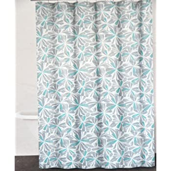 teal and gray shower curtain. DKNY Graphic Petals Cotton Fabric Shower Curtain Gray Grey Aqua Green On  White Amazon Com Peri Teal TIles