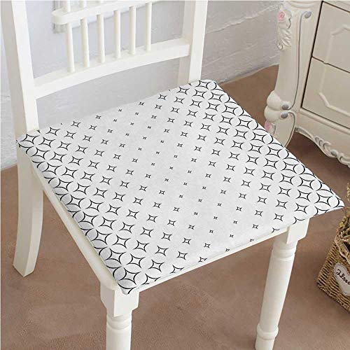 Mikihome Chair Seat Pads Cushions Monochromatic Curvy Star s Classic Design Ornament Stylish ation Black White Square Car and Chair Cushion/Pad with Ties, Soft, for Indoors Or Outdoor 20