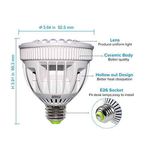 SANSI Flowering LED Grow Light Bulb, Ceramic Plant Light, HydroponiGrowing Light Bulbscs, Indoor Farming, Greenhouses (15w, E26 Socket, 16 LED Chips) by SANSI (Image #2)