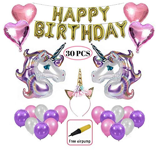 DoubleRainbow Unicorn Birthday Party Supplies Balloon for Parties, Huge Unicorn Balloons, Happy Birthday - Banner, Heart Balloons with air Pump incl. 30 pcs Set