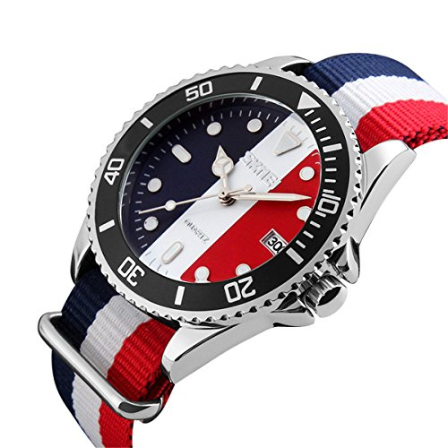 Red Unisex Watch (Men's Nylon Strap Watch Unique Analog Quartz Waterproof Business Casual Big Face Dress Wrist Watch with Blue White Red Striped Canvas Band)