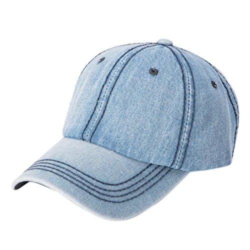 BSGSH Vintage Washed Dyed Hats Twill Low Profile Plain Dad Hat Baseball Caps Adjustable (Light Blue)