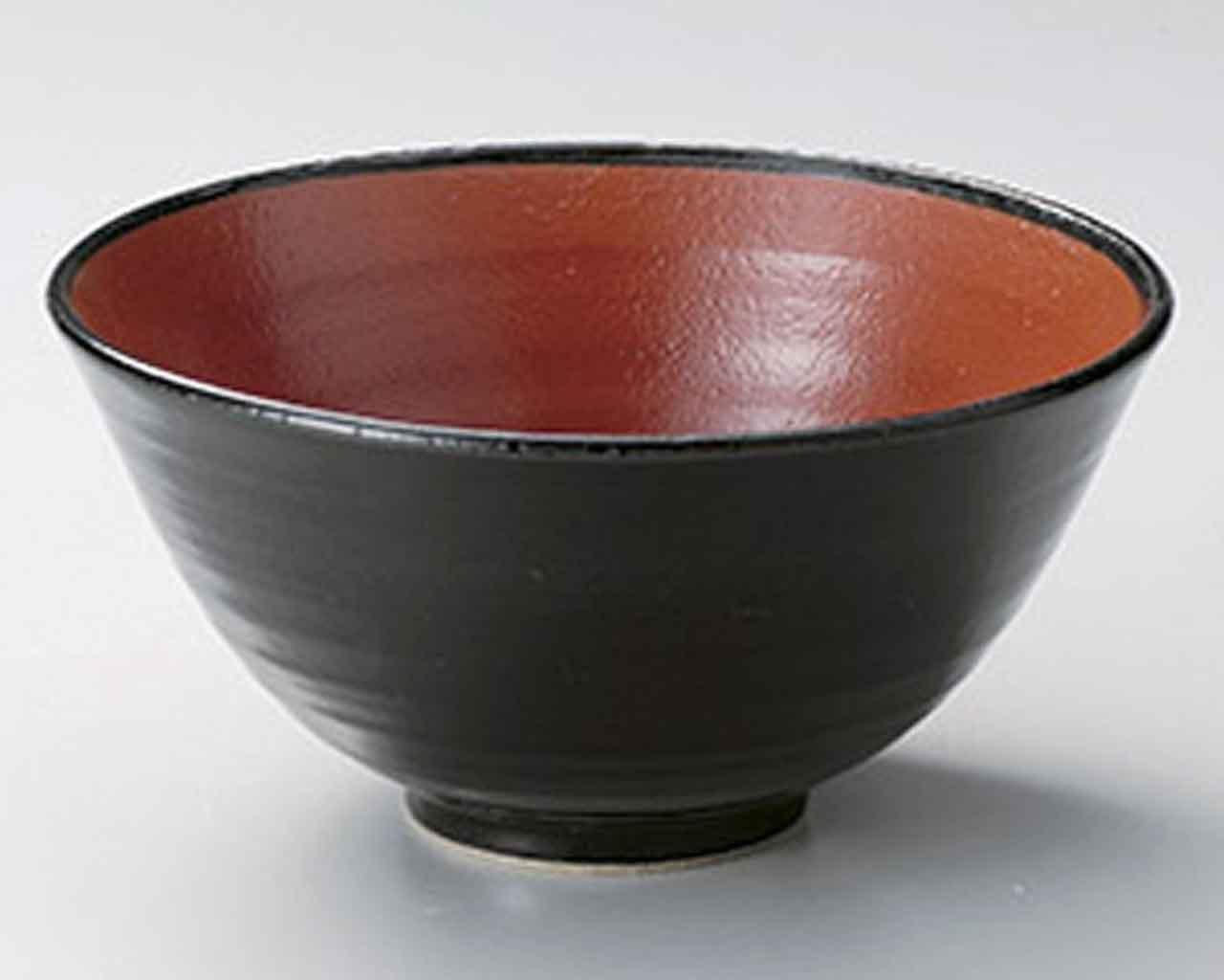 赤と黒 18.5cm どんぶり10点セット 黒 陶器   B06XSH6W3W