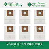 6 Kenmore Type B 85003 Allergen Bags. Designed by FilterBuy to Replace Part #'s 24196, 20-24196, 634875, 115.2496210, 0-24196, 24196, 02053278000 and 634875.