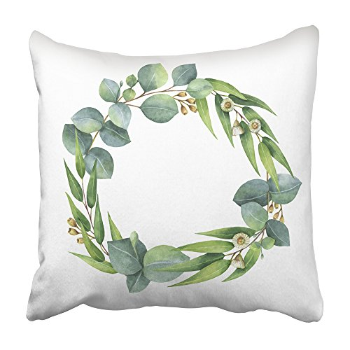 Emvency Decorative Throw Pillow Covers Cases Watercolor Hand Round Wreath Eucalyptus Leaves Branches Healing Herbs Save The Date 16x16 inches Pillowcases Case Cover Cushion Two -
