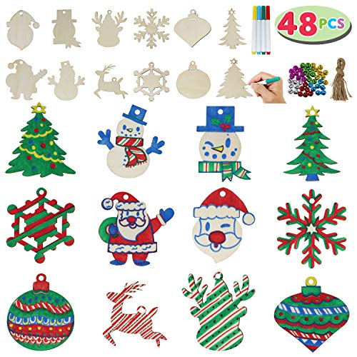 JOYIN 48 Pack Wooden Christmas Ornaments Craft Kit for DIY, Blank Christmas Hanging Ornaments Unfinished Wood Cutouts for Holiday Gifts and Christmas Decorations (To Paint Santas Wooden)