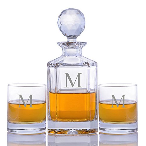 3 Piece Decanter Set (Personalized Crystal Whiskey Liquor Decanter Set with 2 Rocks Glasses by Crystalize Engraved & Monogrammed (Custom 3 Piece Set))
