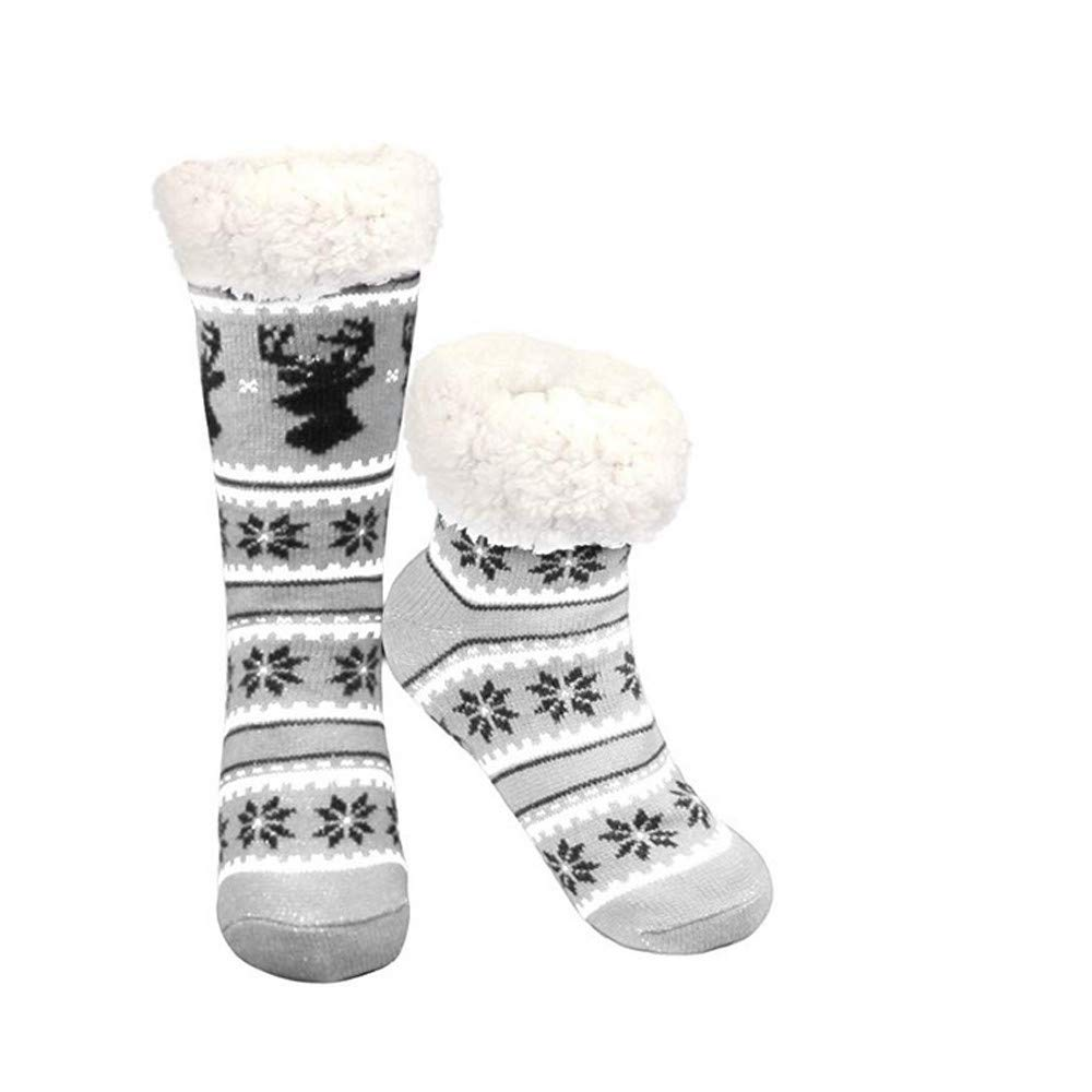 A.M.Feke Christmas Gift Deer Warm Snowflake Comfortable Fleece Lining Slipper For Women Hypoallergenic