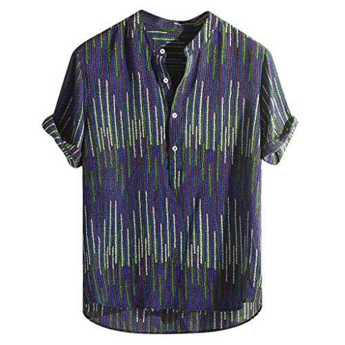 - Ethnic Hawaiian Shirts,Mens Stand Collar Colorful Stripe Printed Beach Party Holiday Camp Casual Short Sleeve Top Blue