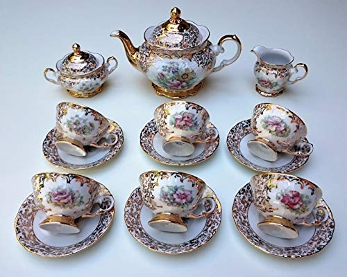Tea set Made in Italy stamped by hand with 24k gold flower