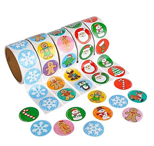 (Rhode Island Novelty Holiday Sticker Rolls | One Set of 500 Stickers | )