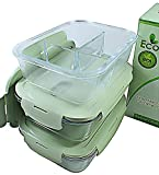3 & 2 Compartments Glass Meal Prep Containers (3-Pack) | Glass Storage Containers with Lids | BPA-FREE, Airtight Food Storage Containers | Leakproof Bento Box Lunch Box | Freezer, Oven, Microwave Safe