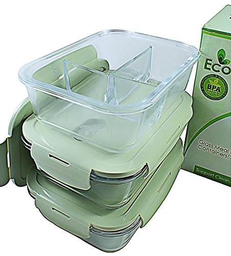 3 & 2 Compartments Glass Meal Prep Containers (3-Pack) | Glass Storage Containers with Lids | BPA-FREE, Airtight Food Storage Containers | Leakproof Bento Box Lunch Box | Freezer, Oven, Microwave Safe by EcoNaturell
