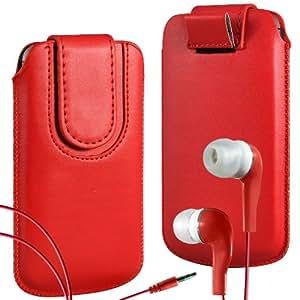 N4U Online Premium PU tirón del cuero del tirón del caso Tab cubierta de bolsa con correa de cierre magnético y Coincidencia Earbud Auriculares para Nokia Asha 210 - Rojo