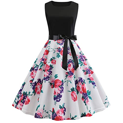 Sunhusing Ladies' Vintage Round Neck Sleeveless Big Swing Dress Stave Musical Prints Waist Belted Prom Gown Red