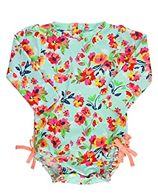 RuffleButts Baby/Toddler Girls Long Sleeve One Piece Swimsuit - Painted Flowers with UPF 50+ Sun Protection - 18-24m