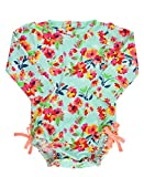 RuffleButts Baby/Toddler Girls Long Sleeve One Piece Swimsuit - Painted Flowers with UPF 50+ Sun Protection - 6-12m