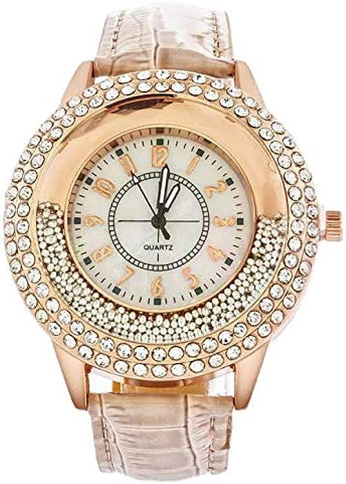 Souarts Womens Bright Brown Color Band Quicksand Beads Rhinestone Dial Quartz Analog Wrist Watch 25cm