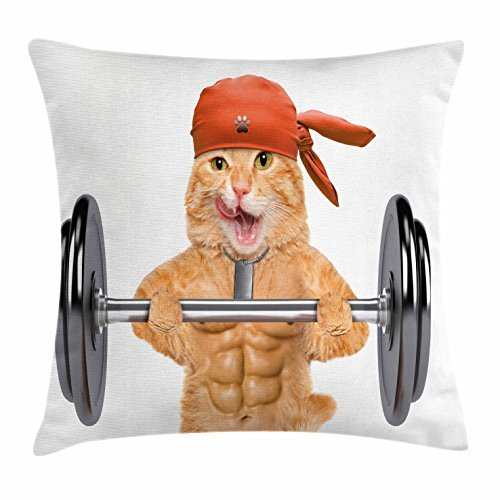 Funny Throw almohada cojín cubierta por ambesonne, Cat Levantamiento de fitness un gran Dumbbell muscled Kitty cuerpo...