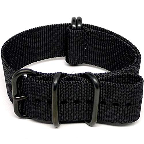DaLuca Ballistic Nylon Military Watch Strap - Black (PVD Buckle) : 20mm