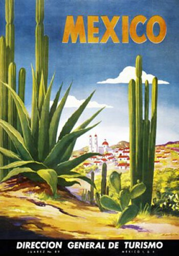Mexico Desert Cactus. Vintage Travel Reproduction Advertising Print Poster