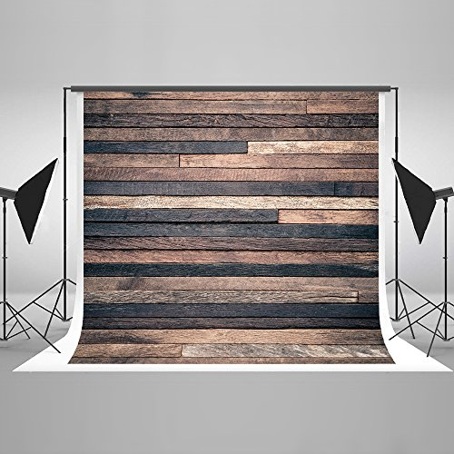 (10ft(W) x10ft(H) Dark Wood Photography Backdrop Retro Brown Wooden Photo Background Potrait Photo Studio Props for Photography Free Wrinkle Cotton Cloth)