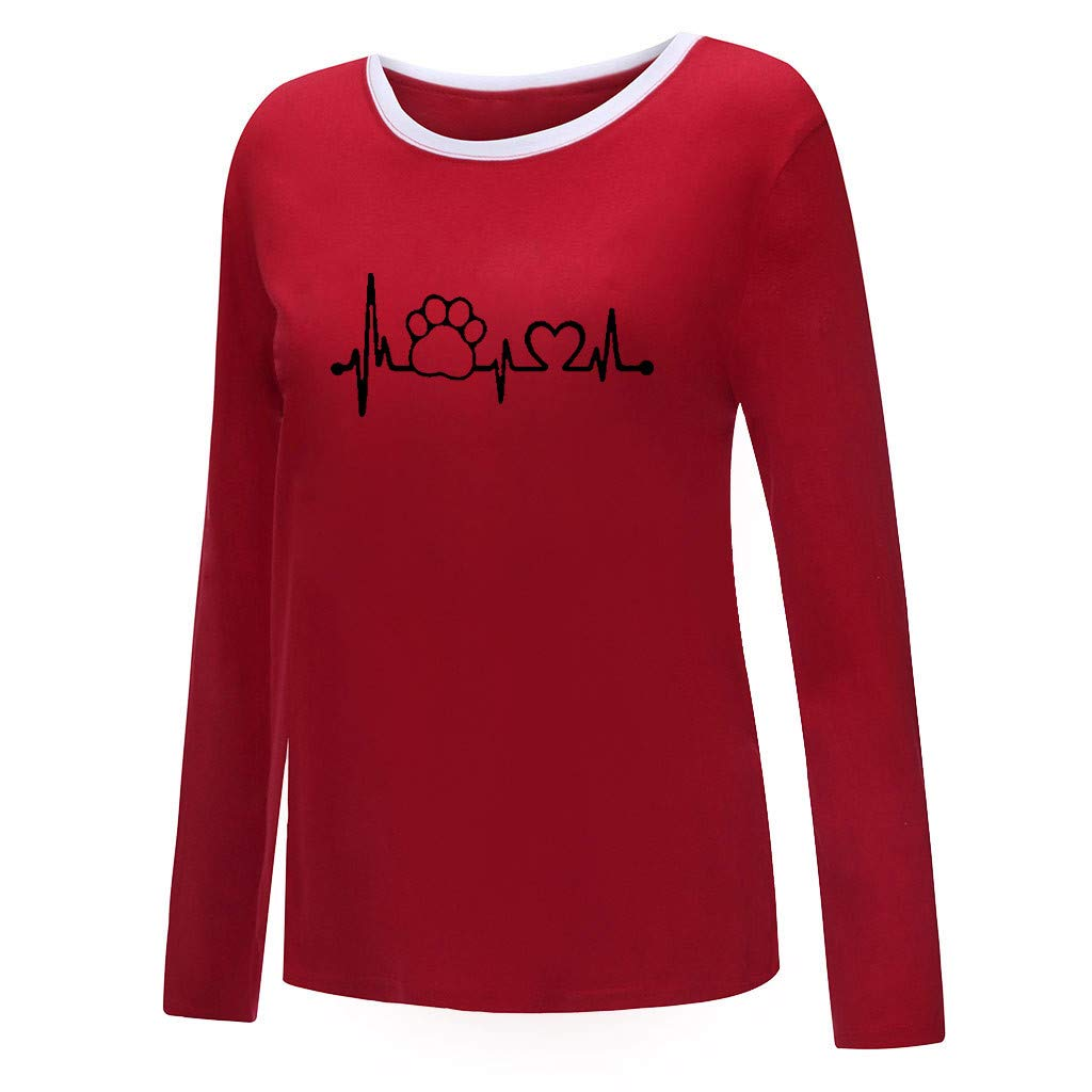 Padaleks Womens Sweatshirts Pullover Plus Size Casual Print Shirts O-Neck Long Sleeve Top Loose Blouse Sweater Jumpers