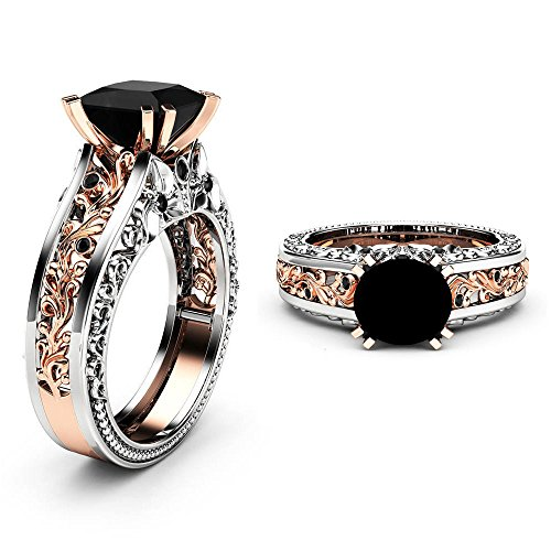 YOMXL Big Stone Cubic Zirconia Rings,Rose Gold Hollow Floral Ring with Two Rows of Small Diamonds Wedding Rings Gift for Women