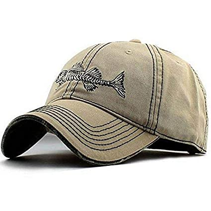 Amazon.com   AKIZON Mens Hats Baseball Cap with Fish Bones - Fishing ... 110eab32092