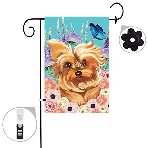 Yorkie Flag Garden - Pinata Yorkie Dog Garden Flag Sets,Double Sided and Polyester Animal Floral Butterfly Flags with a Rubber Stopper Stop and a Anti-Wind Clip,12