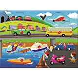 Puzzled People Movers Educational Peg Wooden Puzzle for Home or Travel - Transportation Collection - Affordable Gift For Your Little One - Item #4369