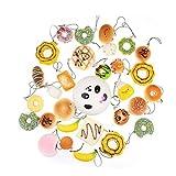 Tinksky 30Pcs Jumbo Medium Mini Random Squishy Soft Panda/Bread/Cake/Buns Phone Straps Christmas Birthday Gift for Children