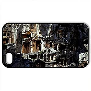 Myra Rock Tombs, Greece - Case Cover for iPhone 4 and 4s (Ancient Series, Watercolor style, Black)