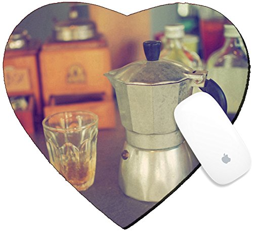 Luxlady Mousepad Heart Shaped Mouse Pads/Mat design IMAGE ID: 34010862 coffee maker espresso machine on the table wood vintage color