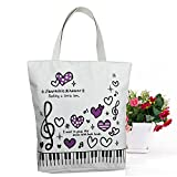 Sound Harbor Music Symbols Print Canvas Tote Music Element Handbag Shoulder Shopping Bags, Music Book Bag and Gift of music lovers (Purple Love-Bag)