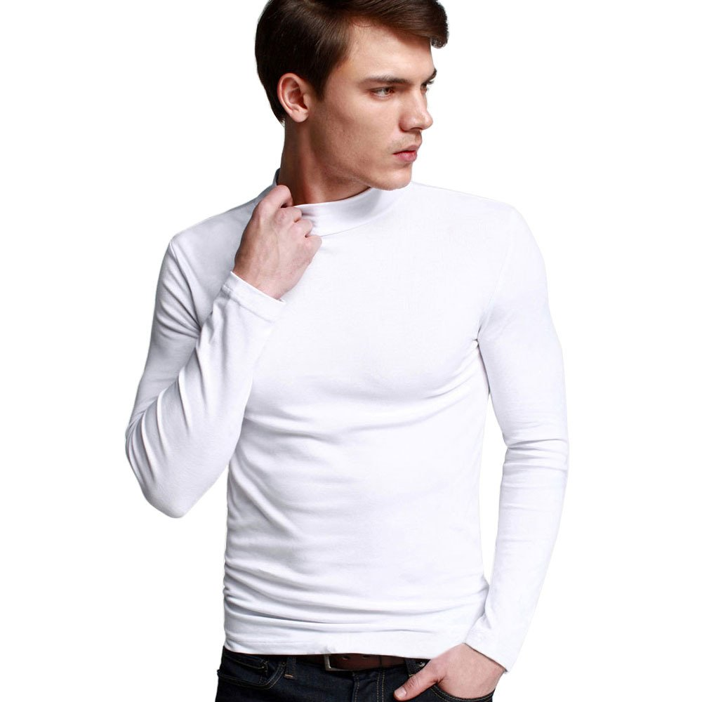 OCHENTA Men's Long Sleeve Turtleneck Slim Fit Casual T-Shirts