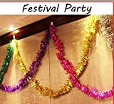 sunyou 6Pcs 2M 6.5Ft Tinsel Garland Ceiling Decorations Hanging Ornaments