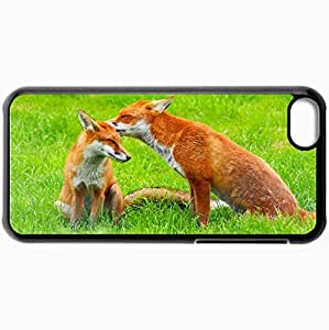 Fashion Unique Design Protective Cellphone Back Cover Case For iPhone 5C Case Beasts The Fox Pair 28460 Black