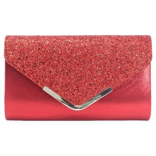 Purse Red Sequin Clutch Wocharm Evening Faux Party Envelope Leather Shoulder Handbag 1pq6Xv