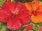 Hawaiian Thank You Mahalo Note Cards Boxed Red Hibiscus 10 Count