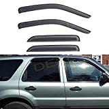 DEAL 4-Piece Set Vent Smoke Window Visor, Side Window Sun Rain Guard With Outside Mount Tape-On Type, Custom Fit For 2001-2012 Ford Escape / 2008-2011 Mazda Tribute / 2005-2011 Mercury Mariner