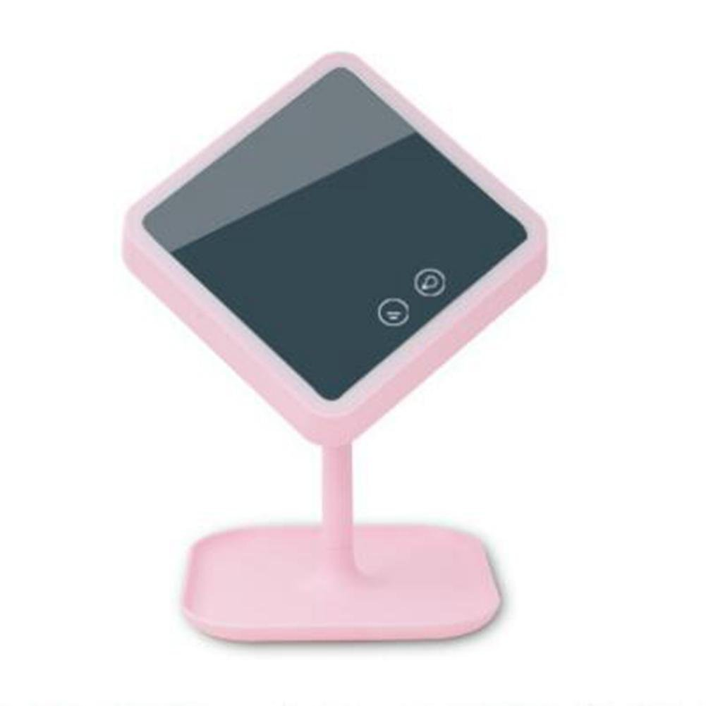 ZT USB Charging LED Make-Up Mirror Table Lamp Smart Storage Multi-Function Mirror Lamp Touch Dresser Night Light , pink