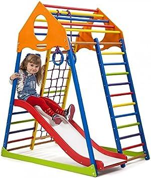 Centro de Actividades con Tobogán ˝Kindwood-Color-1˝, Red de Escalada, Anillos, Escalera Sueco, Campo de Juego Infantil: Amazon.es: Juguetes y juegos