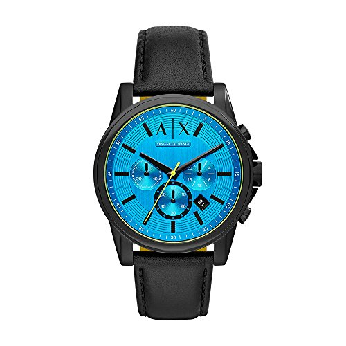 Armani Exchange Men's 'Chronograph' Quartz Stainless Steel and Leather Casual Watch, Color:Black (Model: AX2517)