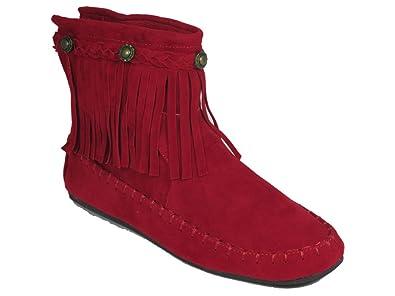 Amazon.com   Katherine 05 Fringe Moccasin Ankle Boots Red   Ankle ...