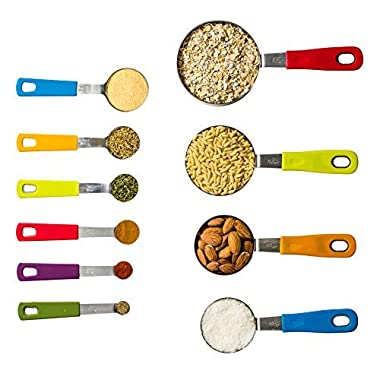 KUKPO 10-Piece Stainless Steel Measuring Cups And Measuring Spoons Set – Silicon Handles For Easy Grip - To Measure Dry Rations And Liquids